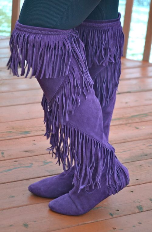 29eae89a827ab6 Sam Edelman Purple Fringe Suede Over the Knee Boots -  35