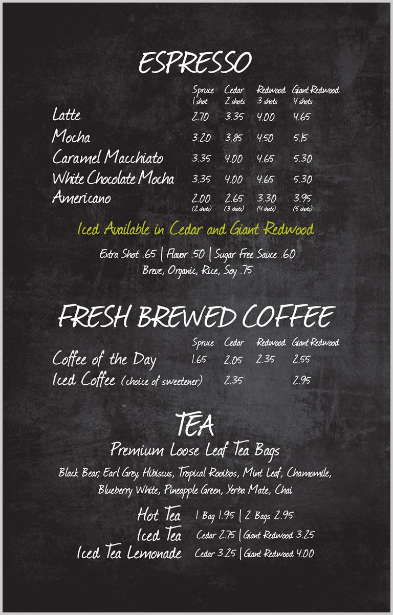 Espresso Blend Woods Coffee Coffee Shop Menu Coffee Shop Menu Board Coffee Shop Business