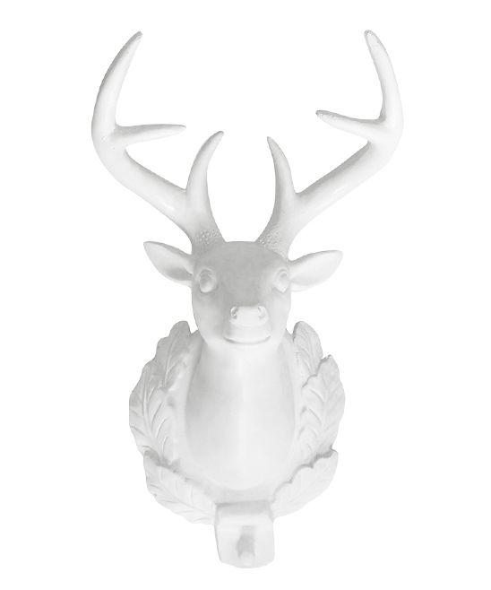 White 12'' Bavarian Deer Wall Hook