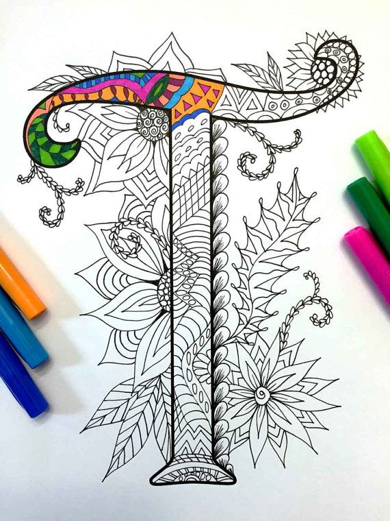 Letter T Zentangle - Inspired by the font \