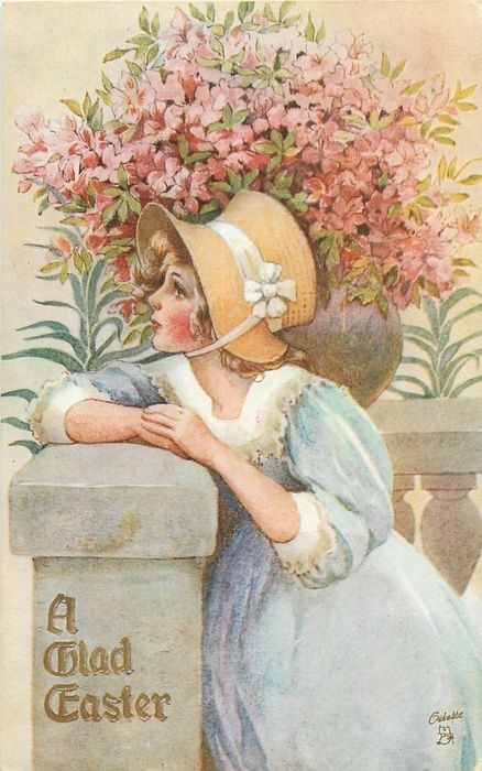 A GLAD EASTER  girl in Easter bonnet leans on stone balustrade below large bowl of pink flowers