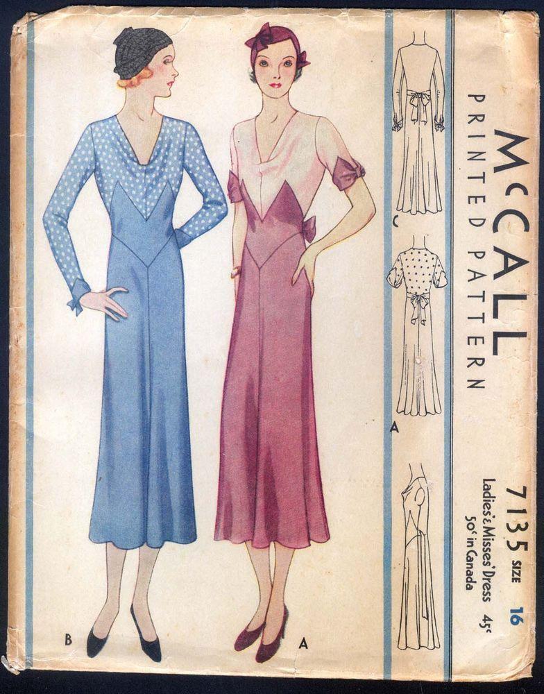 McCall 7135 | 1932 Ladies' & Misses' Dress