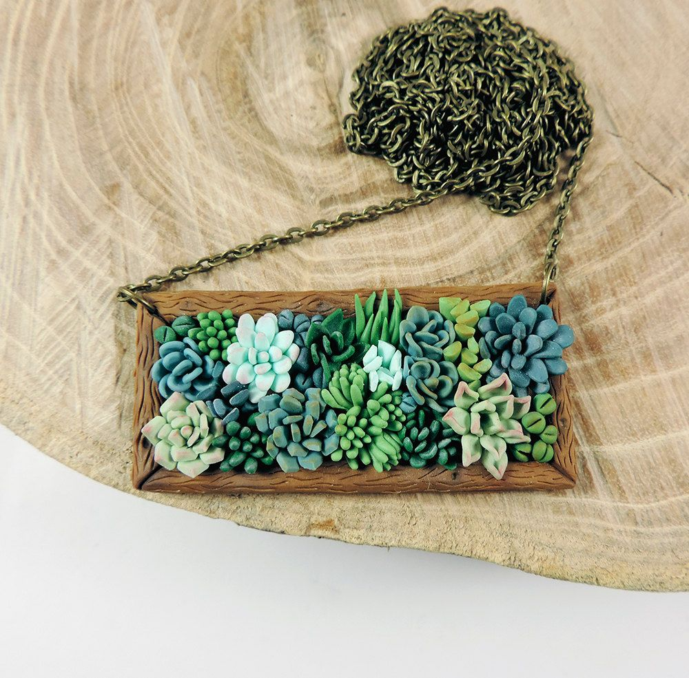 Succulent jewelry polymer clay pendant plant succulents necklace shop for polymer clay pendants on etsy the place to express your creativity through the buying and selling of handmade and vintage goods aloadofball Image collections