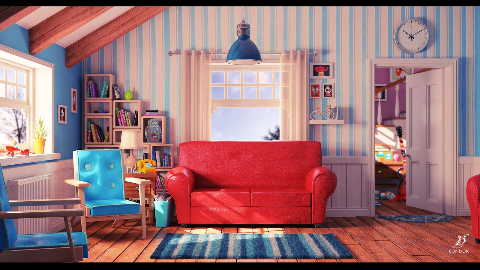 Cartoon living room, bondok max on ArtStation at https