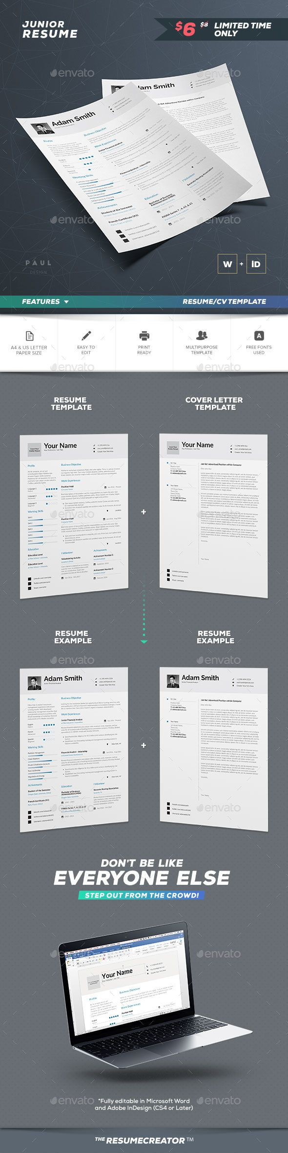 Resume / Cv Template - Word And Indesign