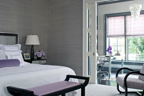 Dark Grey Wall Color Scheme with White and Purple Beds in Small