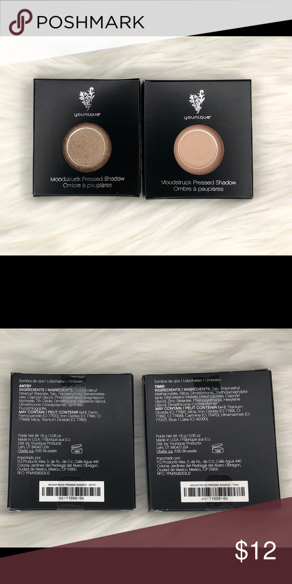 2 Younique Moodstruck pressed shadows New!  Younique Moodstruck pressed Shadow - Antsy and Timid Younique Makeup Eyeshadow #youniquepressedshadows