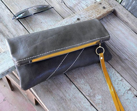 leather fold over clutch sunshine and gray  bag for by FeralEmpire, $64.00