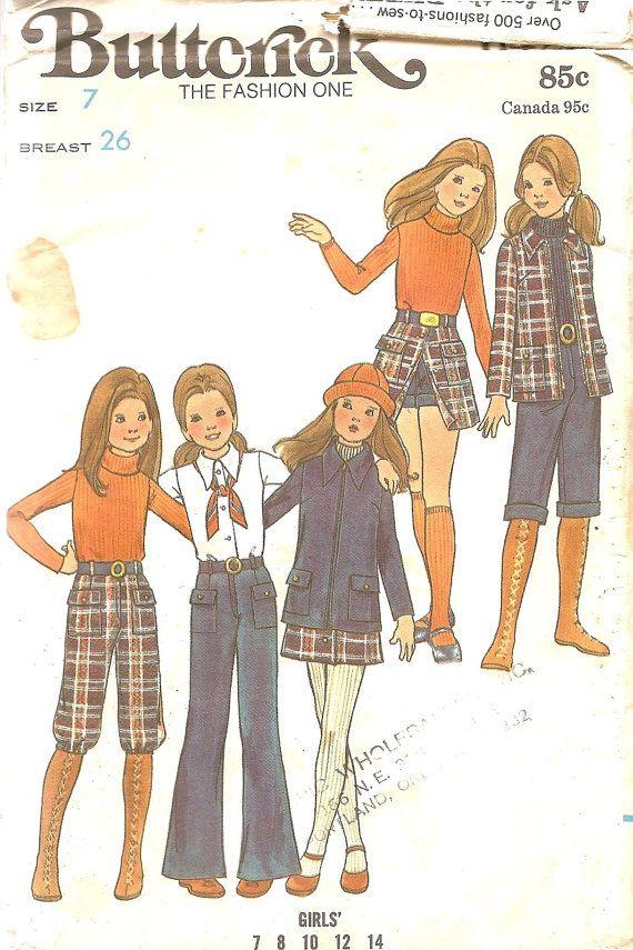 Vintage Sewing Patterns 1970s Girls Jacket Skirt by TenderLane, $12.00