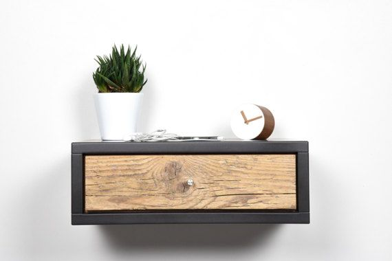 Best Floating Nightstand Gray With Drawer In Old Wood 640 x 480
