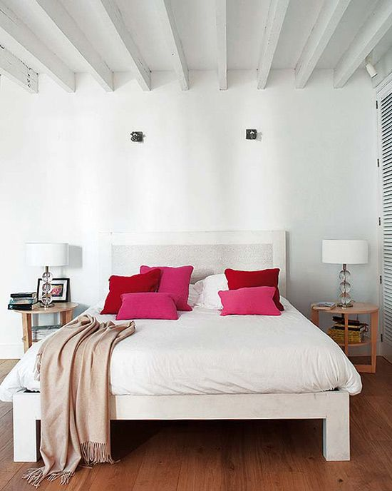 All White Bedroom With Pink Accents Home Home Bedroom All