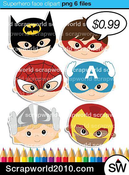 6 cute superhero clipart face batman superman captain america iron