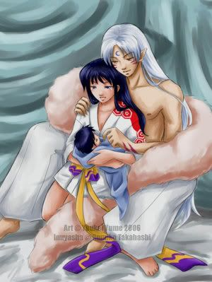 Sesshomaru+and+Kagome+New+Baby | Sesshomaru and Kagome with