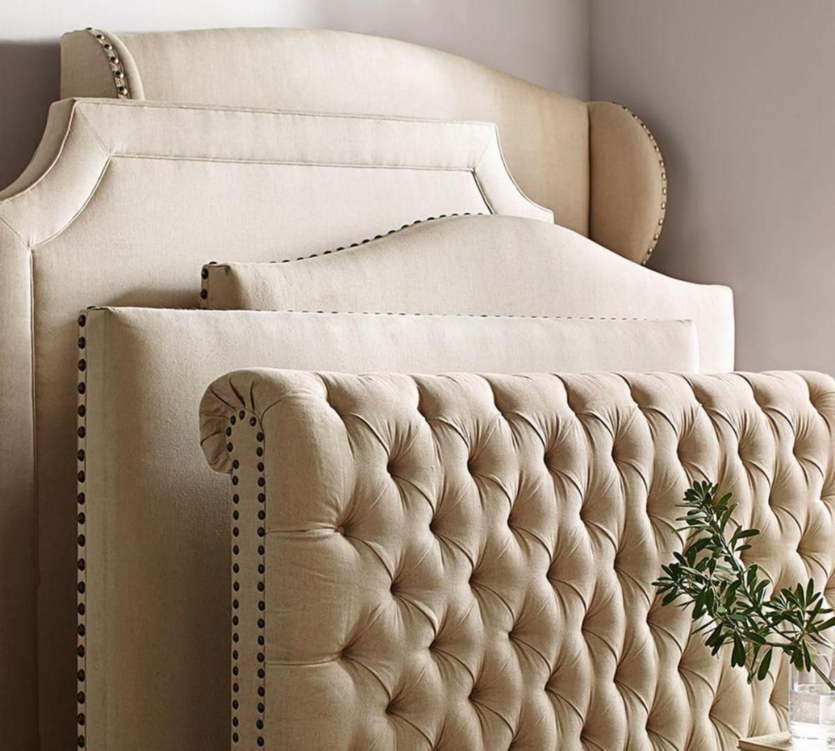 Chesterfield upholstered bed headboard. Pottery barn- just purchased ...