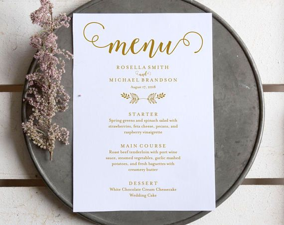 Gold Wedding Menu Template Wedding Dinner Menu Rustic  Wedding