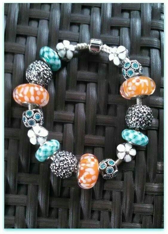 PANDORA Bracelet with Beautiful Teal Murano, Large Orange Murano ...