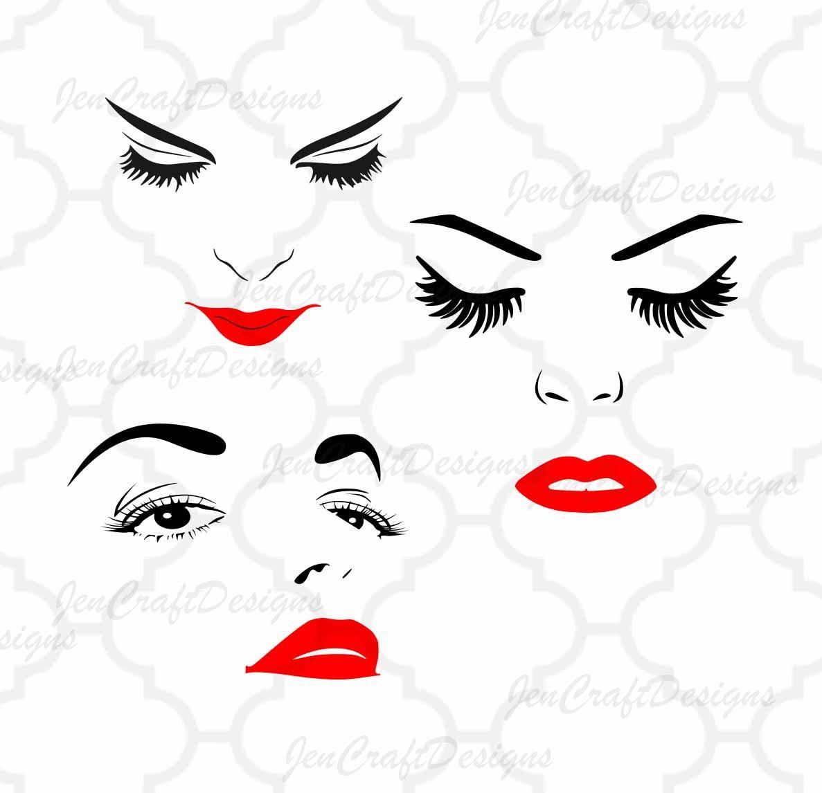 bae16658f283 Women Face Svg, Eyelashes SVG, lips Women Face Clipart, Face SVG ...