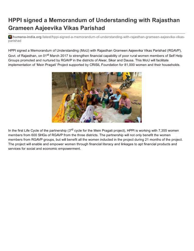 Hppi Signed A Memorandum Of Understanding With Rajasthan Grameen