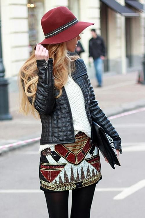 Merlot / Tribal / Quilted / Leather / White / Floppy Hat /