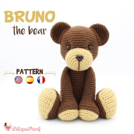 Please note that this is a crochet bear PATTERN, NOT THE FINISHED TOY. The amigurumi PDF tutorial will be available for download immediately after purchase. Available in English, Spanish and French. ABOUT THE PATTERN: This crochet pattern contains a detailed description of how to #crochetbearpatterns