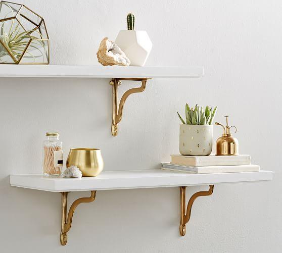 Sarah Bartholomew Nola Shelf With Brackets White Gold
