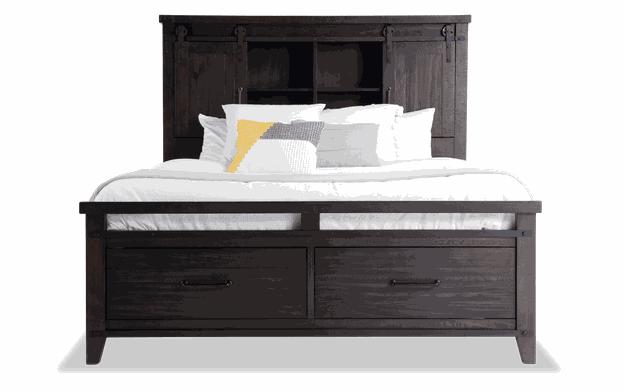 Montana Queen Brown Bookcase Storage Bed Bobs Com In 2020 Brown Bookcase Bookcase Storage Storage Bed