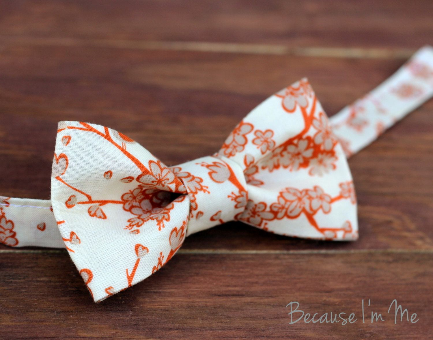 Mens Bow Tie -Tan and Orange Cherry Blossom Flowers on a Soft Cream Woven Cotton Bow Tie, bowtie for men and teens - pinned by pin4etsy.com