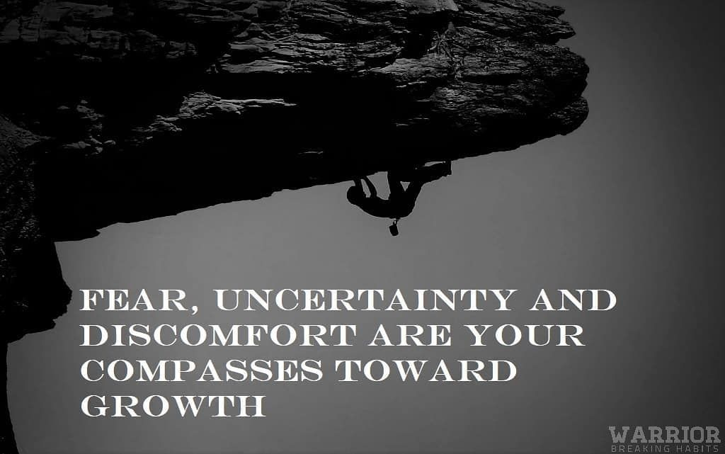 """""""Fear, uncertainty and discomfort are your compasses toward growth"""" . . . . Follow @warriorbreakingh..."""