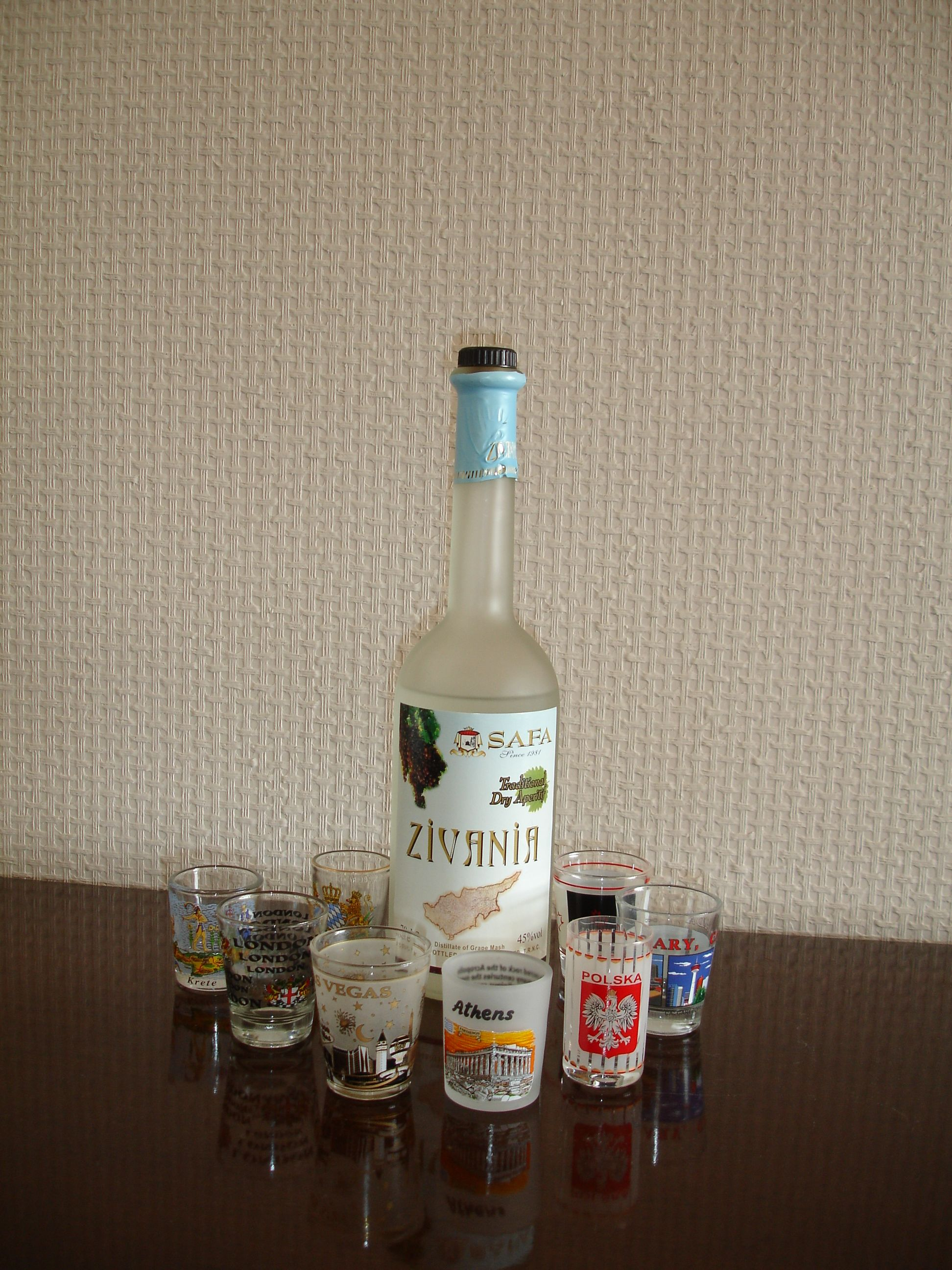 Zivania & shot glasses from all over the world