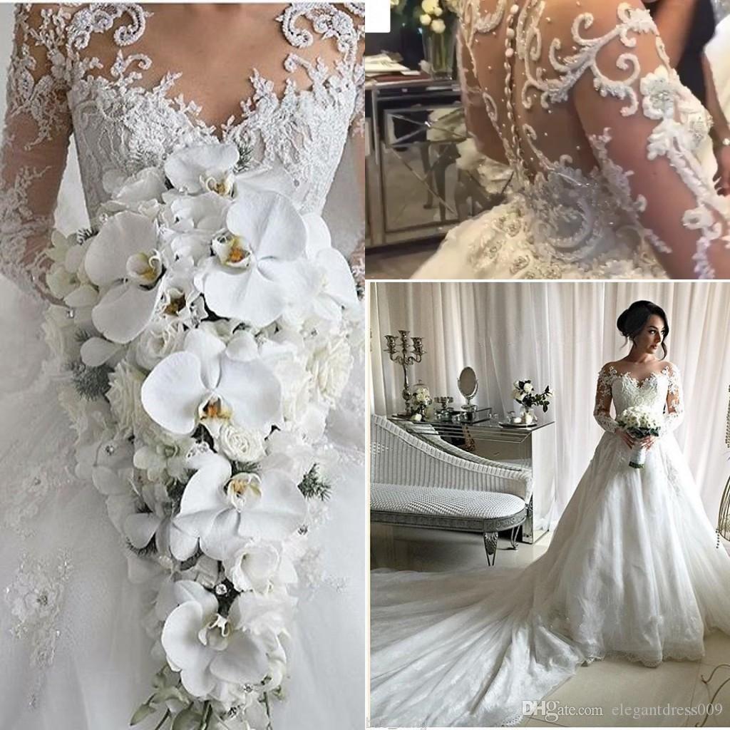 Großhandel 20 Luxus Dubai Arabisch Brautkleid Sheer Neck Long