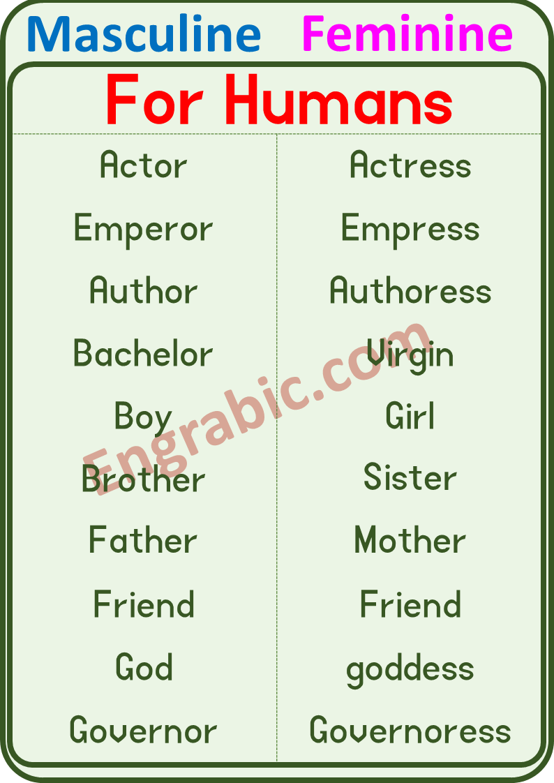 Masculine And Feminine English Phrases Masculine Feminine Opposite Words