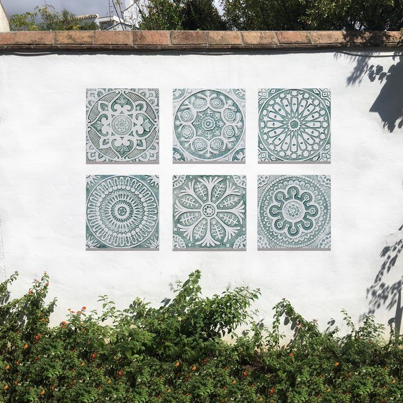Moroccan Tile For Outdoor Wall Art Or For Bathroom Tile Wall Etsy In 2020 Outdoor Wall Art Decorative Tile Ceramic Wall Decor
