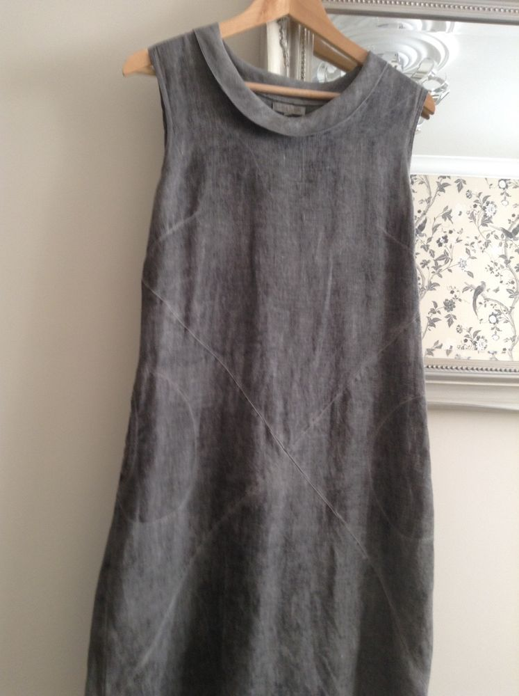Womens Lina Tomei, Grey Linen Dress Size Medium, Made in Italy