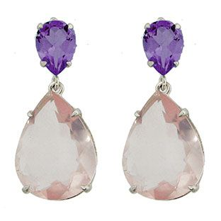 Sterling Silver 26 Carat Pink Purple Amethyst Dangle Earrings Available Exclusively at Gemologica.com