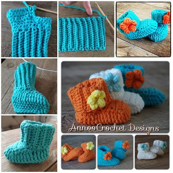 Crochet Spring Flower Baby Booties With Free Pattern Diy