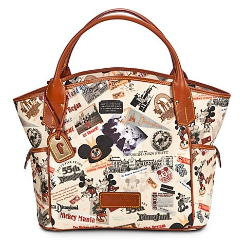 Celebrate The Opening Of Hiest Place On Earth With This Disneyland 55th Anniversary Tote Bag By Dooney Bourke Design Features Nostalgic