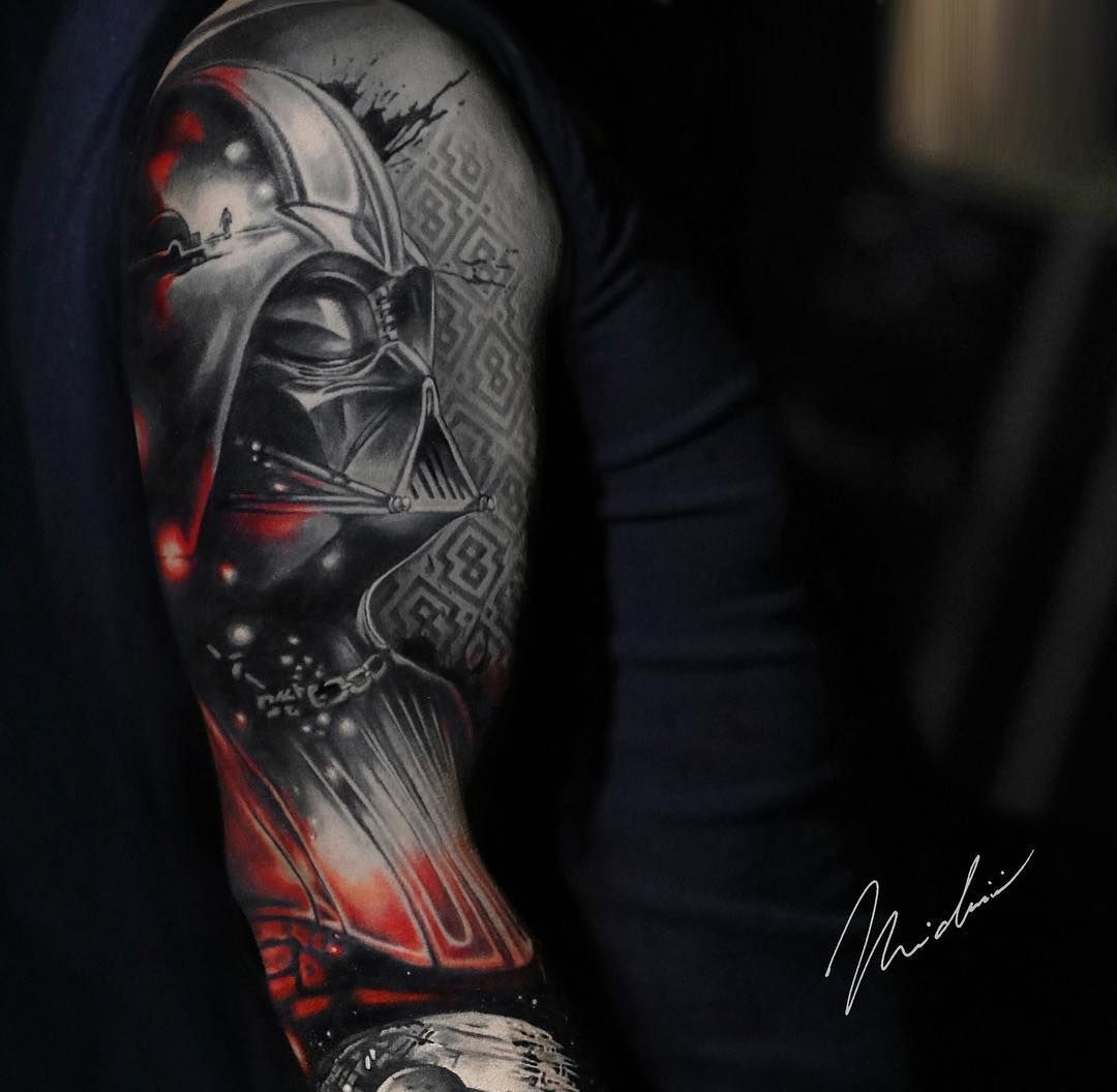 175cb06850 Pretty black and red tattoo of Darth Vader from Star Wars movies, done by  tattoo artist Michael Cloutier