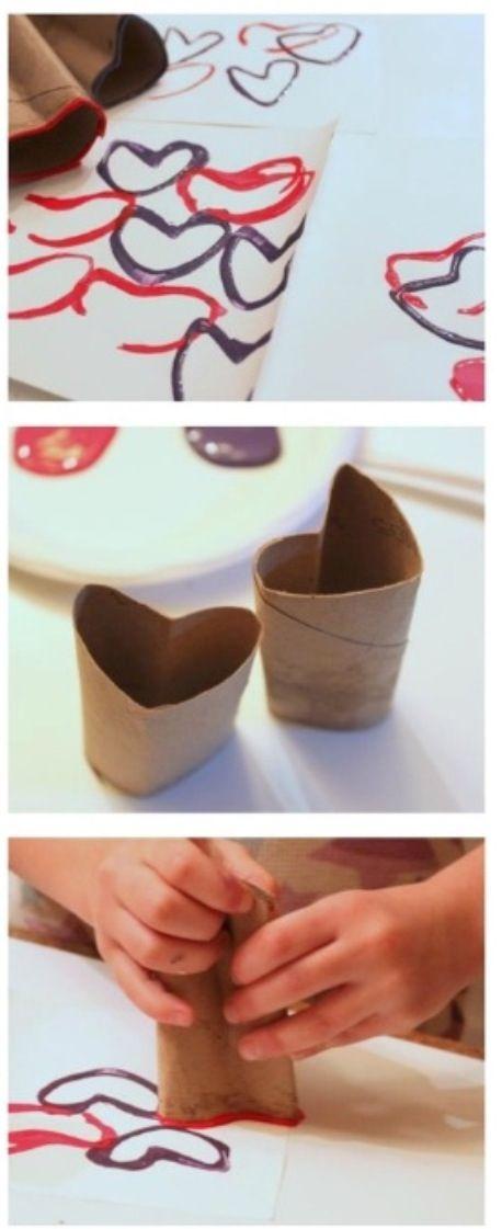 Vessapaperileimasin ystävänpäiväkorttia varten | Valentines Day card stamper from toilet paper roll #DIY