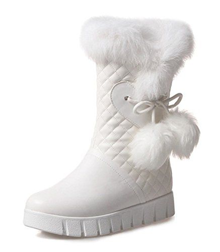Women's Cute Mid Calf Winter Platform Snow Boots
