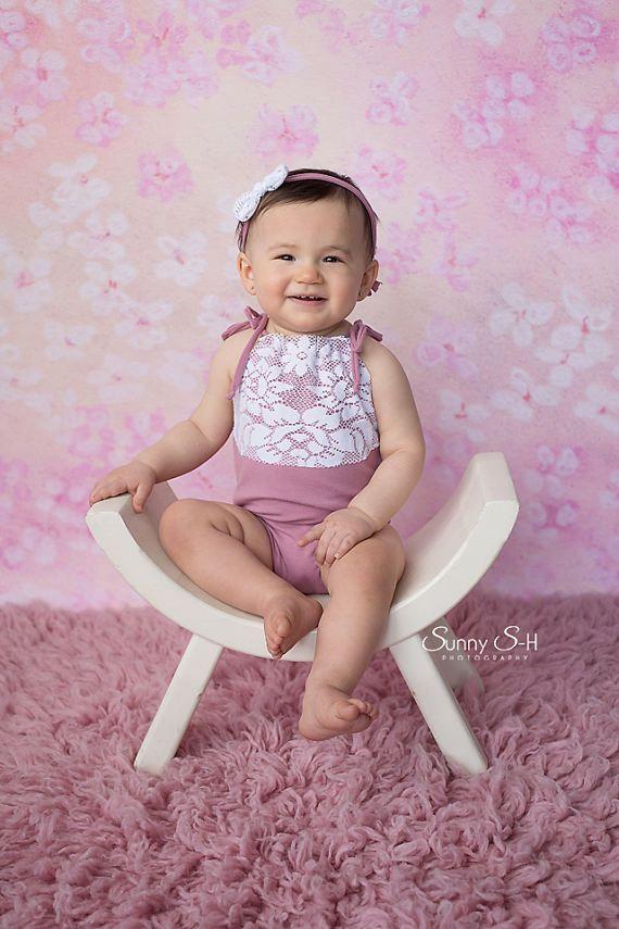 8a4b0539dad Girl Sitter Romper Photography Prop Pink Romper Photo Prop Newborn Tieback