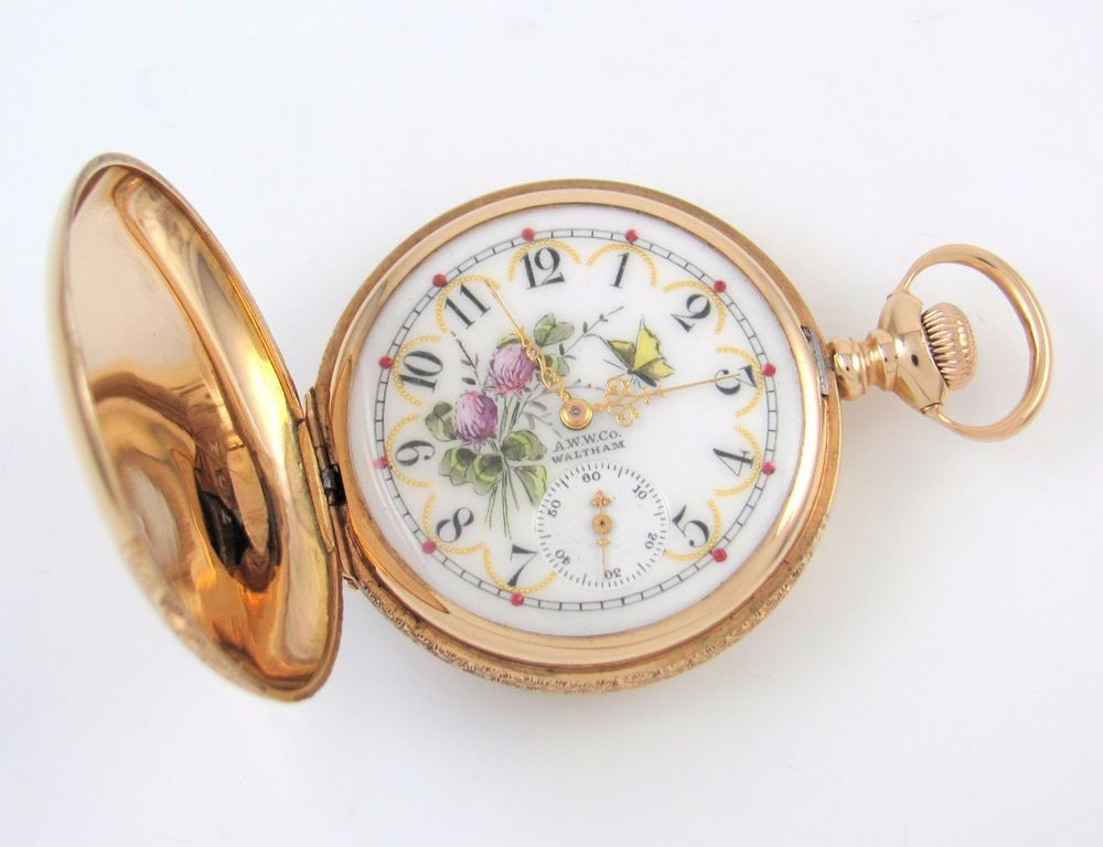 Vintage WALTHAM 14k Gold Pocket Watch Painted Porcelain Dial 15 Jewels | RS BRX #Waltham