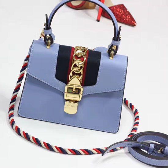Gucci Sylvie Leather Mini Bag Light Blue 470270