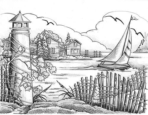 paysage de bord de mer dessins pinterest bord paysages et coloriage. Black Bedroom Furniture Sets. Home Design Ideas