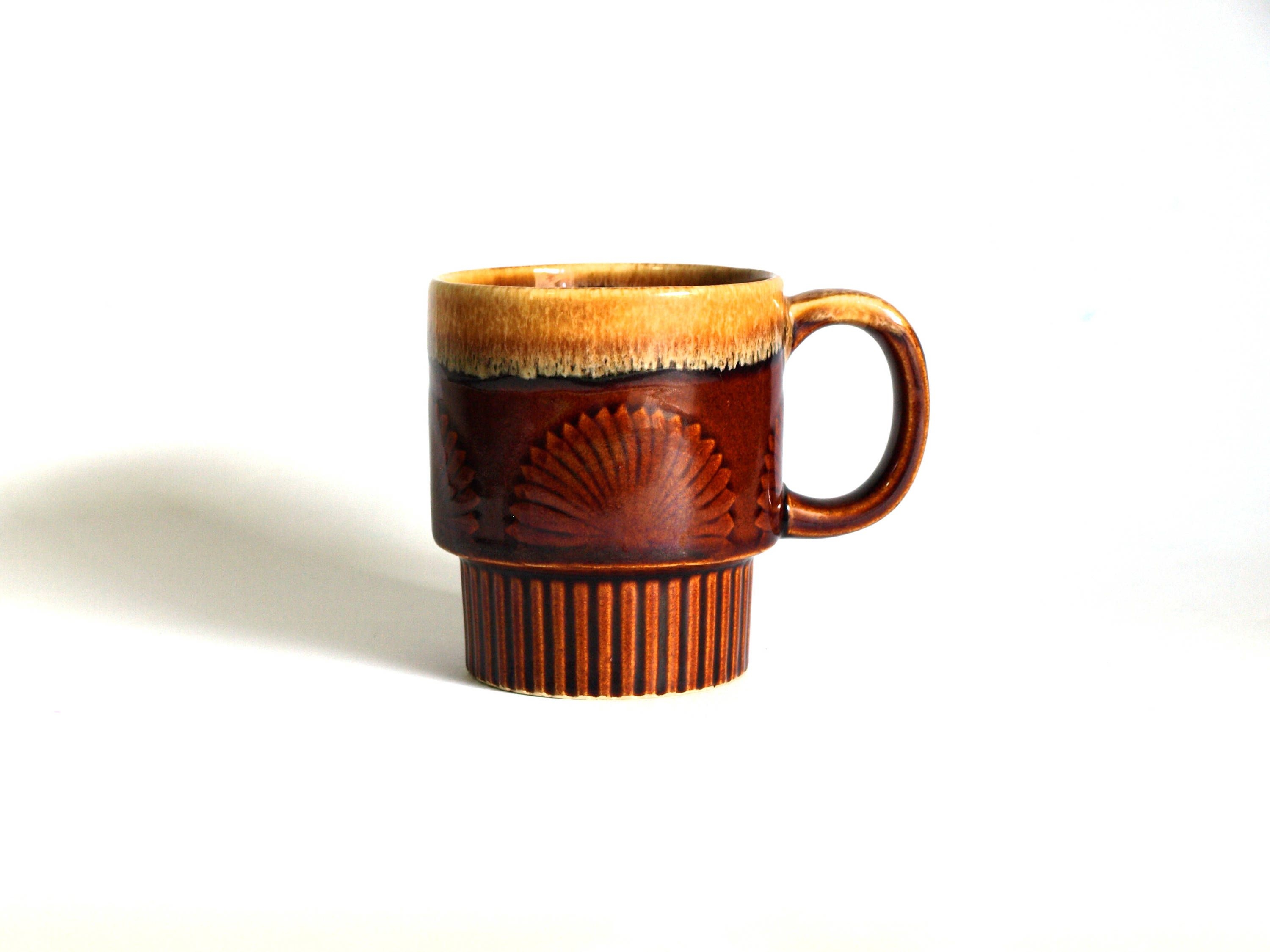 Vintage Stackable Honey Caramel Drip Chocolate Brown Mod Coffee Mug Retro 70s S Fan Glaze Cup Made In An