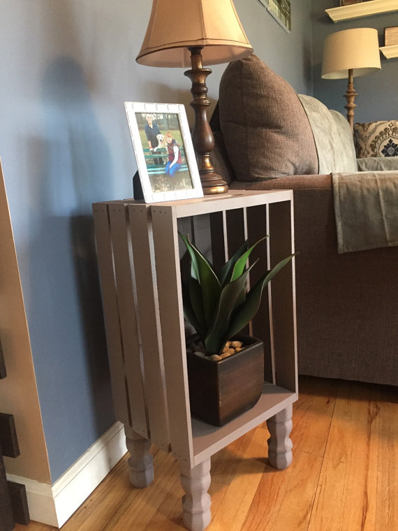Wine Crate Side Table Nightstand With Or Without Shelf Caisse A