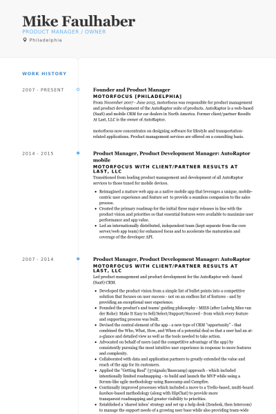product manager resume pdf