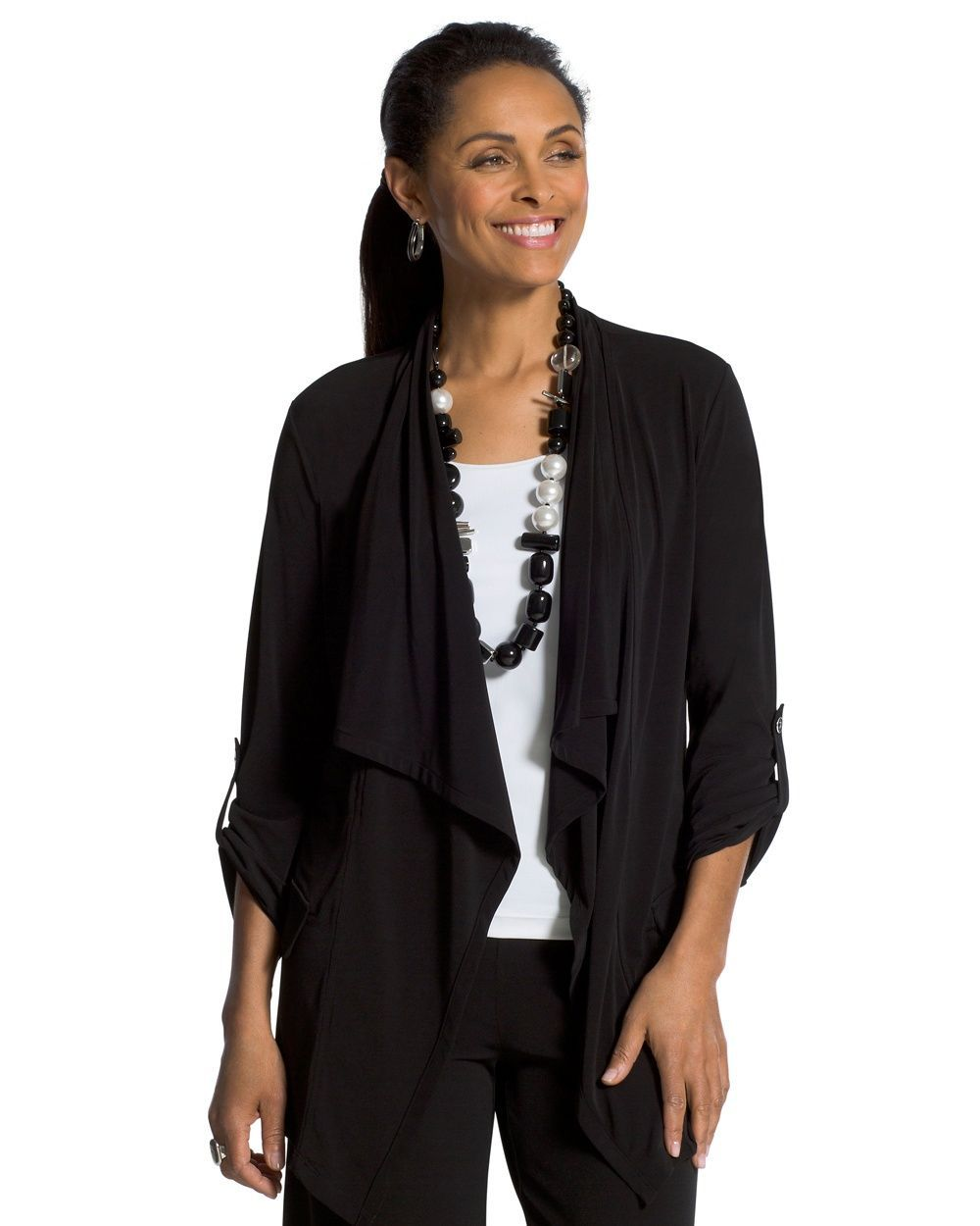 Chico's Women's Knit Roll-Tab Jacket, Black, Size: 4 (20/22 XXL)
