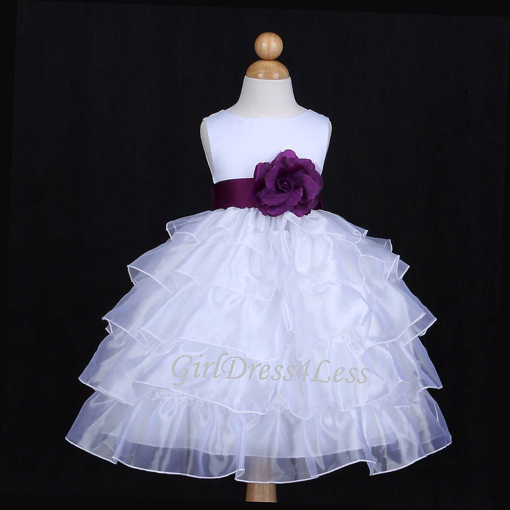 4505654a956 WHITE PLUM DARK PURPLE ORGANZA WEDDING FLOWER GIRL DRESS 12M 18M 24M 2 4 6 8  10