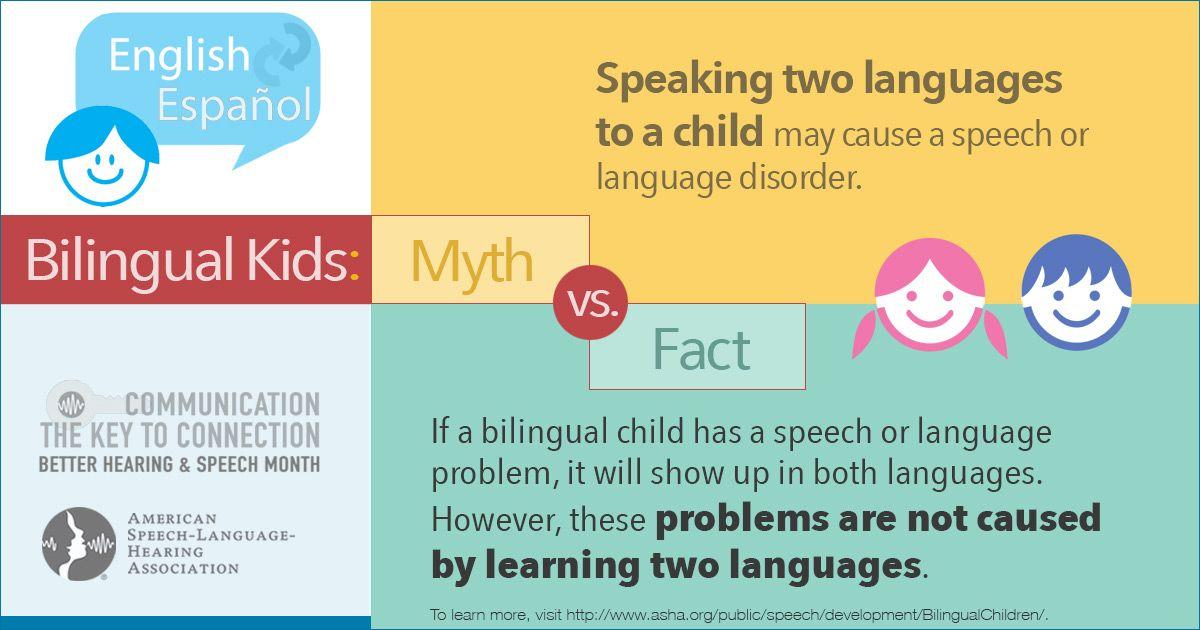 Myth Fact About Bilingual Kids Bilingual Speech Language Slp Bhsm Speech And Language Bilingual Children Language Disorders