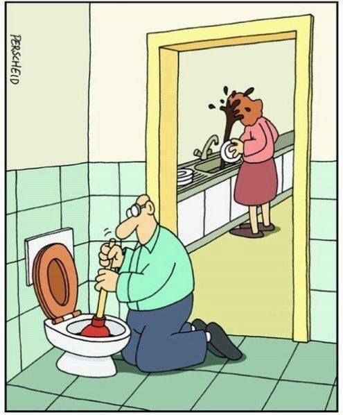 Funny Pictures For Bathroom: Funny Cartoon Fails/toilet Poop Into Wife's Face. OOPS